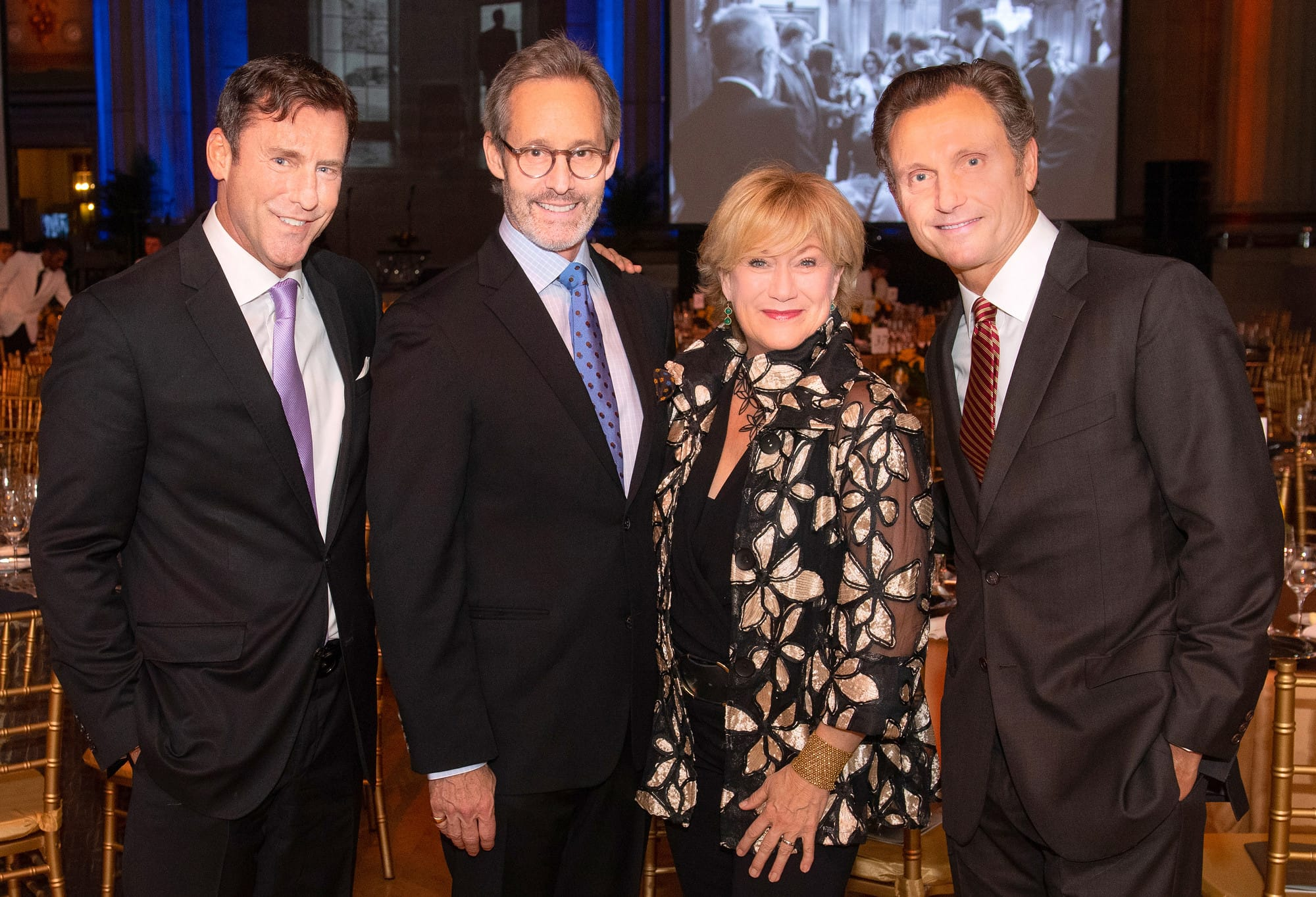 Mark K. Updegrove, president and CEO of the LBJ Foundation, Michel Gill, Jayne Atkinson, and Tony Goldwyn. LBJ Foundation photo by Daniel Swartz, 2019.