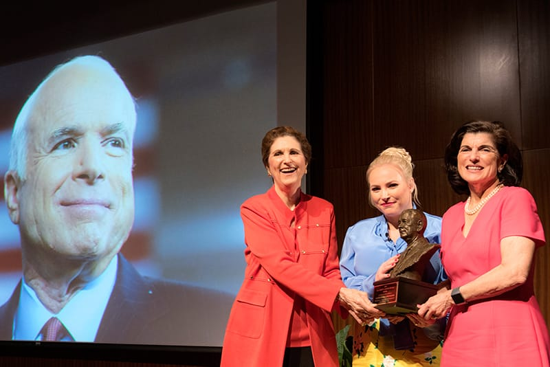 Meghan McCain accepts the LBJ Liberty and Justice for All Award on behalf of her father John McCain