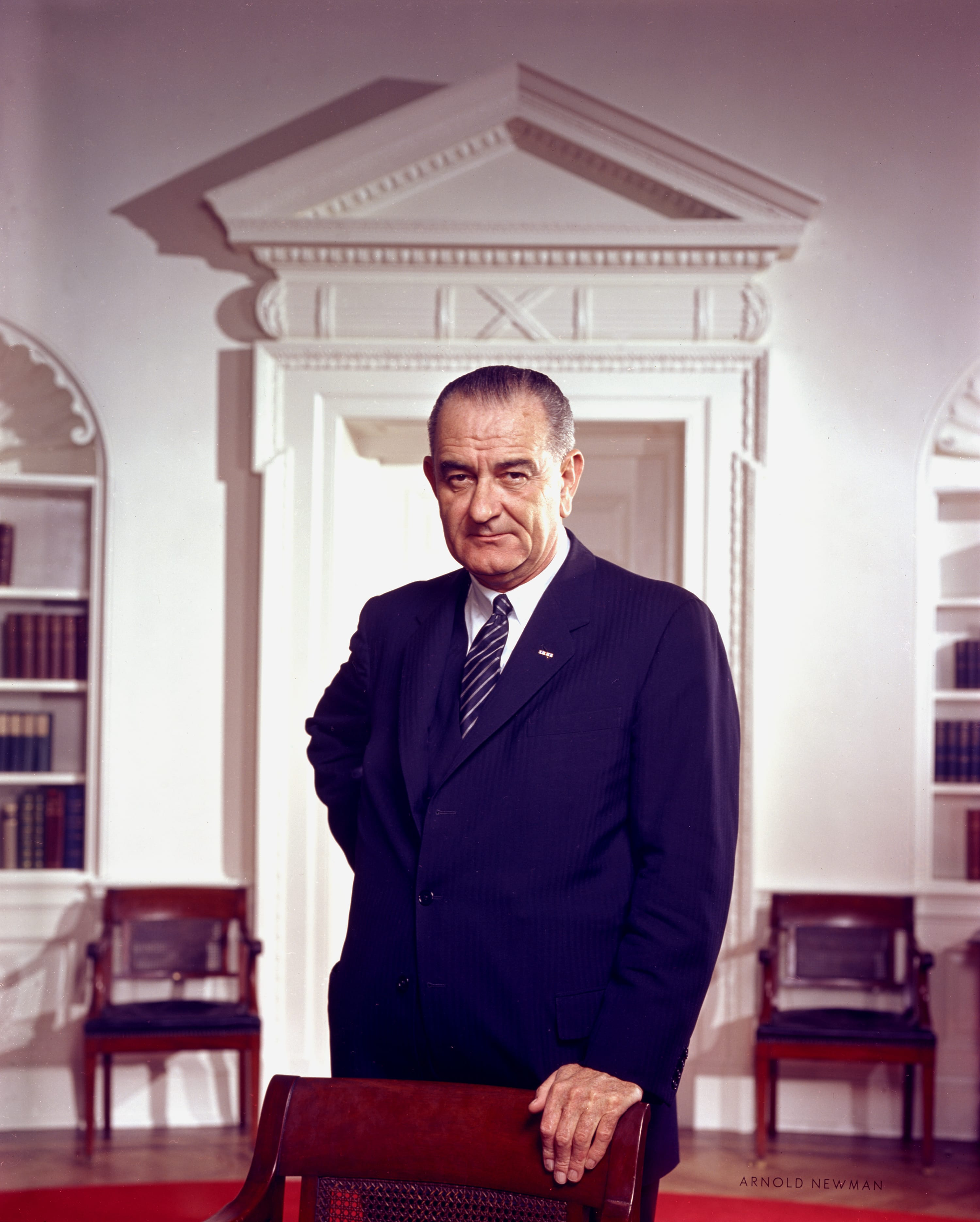 President Lyndon B. Johnson in the Oval Office. Portrait by Arnold Newman.